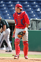 Philadelphia Phillies catcher Logan Moore #5 during an Instructional League game against the Toronto Blue Jays at Brighthouse Field on October 7, 2011 in Clearwater, Florida.  (Mike Janes/Four Seam Images)