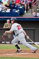 Chris Parmelee (27) of the Ft. Myers Miracle during a game vs. the Brevard County Manatees May 29 2010 at Space Coast Stadium in Viera, Florida. Ft. Myers won the game against Jupiter by the score of 3-2. Photo By Scott Jontes/Four Seam Images
