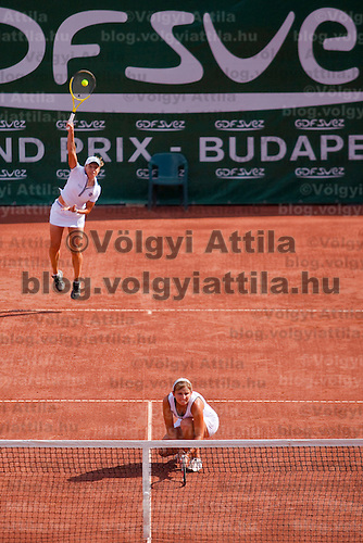 Timea Bacsinszky (SUI) and Tathiana Garbin (RUS) plays during the Gaz de France Suez WTA tour Grand Prix international women tennis competition held at Roman Tennis Academy in Budapest, Hungary. Tuesday, 06. July 2010. ATTILA VOLGYI