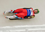 4 December 2015: Wolfgang Kindl, sliding for Austria, enters a curve during his first run of the Viessmann Luge World Cup at the Olympic Sports Track in Lake Placid, New York, USA. Kindl finished the day with a combined run time of 1:42.848 and a 3rd place finish. Mandatory Credit: Ed Wolfstein Photo *** RAW (NEF) Image File Available ***