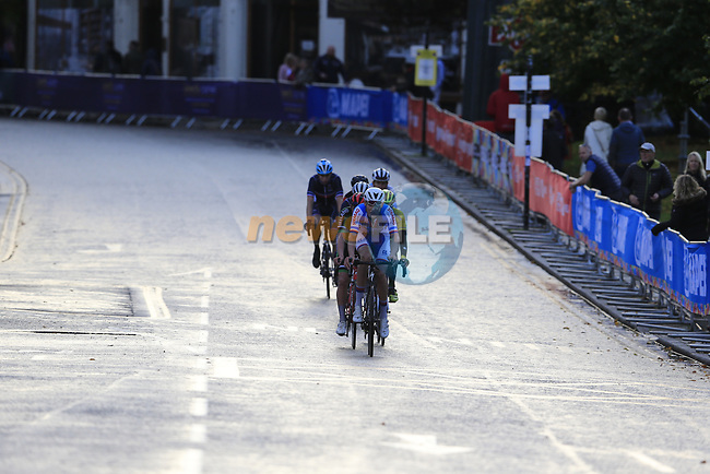 The 3rd chase group into Harrogate for the first time during the Men U23 Road Race of the UCI World Championships 2019 running 186.9km from Doncaster to Harrogate, England. 27th September 2019.<br /> Picture: Eoin Clarke | Cyclefile<br /> <br /> All photos usage must carry mandatory copyright credit (© Cyclefile | Eoin Clarke)