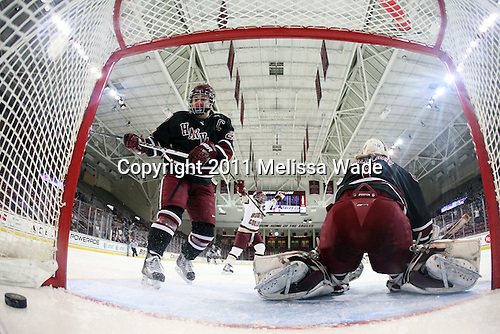 Kelli Stack (BC - 16) celebrates her goal which completed scoring in the game. - The Boston College Eagles defeated the Harvard University Crimson 3-1 to win the 2011 Beanpot championship on Tuesday, February 15, 2011, at Conte Forum in Chestnut Hill, Massachusetts.