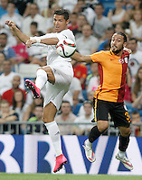 Real Madrid's Cristiano Ronaldo (l) and Galatasaray's Tarik Camdal during XXXVI Santiago Bernabeu Trophy. August 18,2015. (ALTERPHOTOS/Acero)