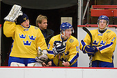 Stefan Steen (Sweden - 1), Henric Andersen (Sweden - 10), Oscar Fantenberg (Sweden - 2) - Sweden's Under-20 team defeated the Harvard University Crimson 2-1 on Monday, November 1, 2010, at Bright Hockey Center in Cambridge, Massachusetts.