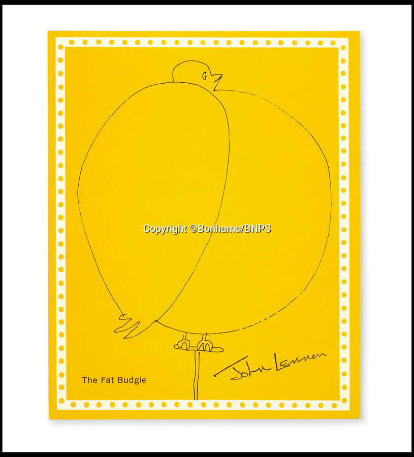 BNPS.co.uk (01202 558833)Pic: Bonhams/BNPS<br /> <br /> The 1965 Oxfam Xmas card.<br /> <br /> And so this is Xmas...£30,000 estimate for Lennon's original fat budgie sketch - turned into an Oxfam Xmas card in 1965.<br /> <br /> The late Beatle's pen and black ink sketch of the obese bird sat on a perch was actually designed for his book A Spaniard in the Works - a book containing nonsensical stories and drawings by him.<br /> <br /> But after it was published Oxfam asked permission to use the rudimental sketch for its charity Christmas cards of the same year.<br /> <br /> The work was actually entitled 'The fat Budgie' by Lennon, but because of its rotund shape it looks more like a robin which made it perfect for the front of a Christmas card.