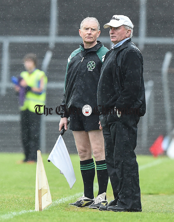 Eire Og manager Seamus Durack on the sideline against Sixmilebridge during their match in Ennis. Photograph by John Kelly.