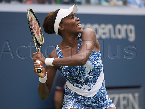 31.08.2015. New York, NY, USA.  Venus Williams in action during the US Open, played at the Billie Jean King Tennis Center, Flushing Meadow NY.