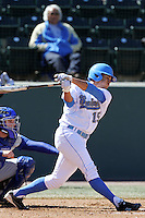 Kevin Williams #15 of the UCLA Bruins bats against the San Jose State Spartans at Jackie Robinson Stadium in Los Angeles,California on February 27, 2011. Photo by Larry Goren/Four Seam Images