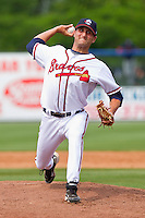 Relief pitcher Matt Suschak #40 of the Rome Braves in action against the Hagerstown Suns at State Mutual Stadium on May 1, 2011 in Rome, Georgia.   Photo by Brian Westerholt / Four Seam Images