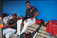 Batavia Muckdogs Samuel Castro (left) and Rony Cabrera (26) in the dugout before a game against the Auburn Doubledays on July 4, 2017 at Dwyer Stadium in Batavia, New York.  Batavia defeated Auburn 3-2.  (Mike Janes/Four Seam Images)