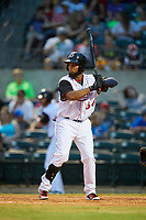 Arkansas Travelers left fielder Keury De La Cruz (34) at bat during a game against the Frisco RoughRiders on May 26, 2017 at Dickey-Stephens Park in Little Rock, Arkansas.  Arkansas defeated Frisco 4-2.  (Mike Janes/Four Seam Images)