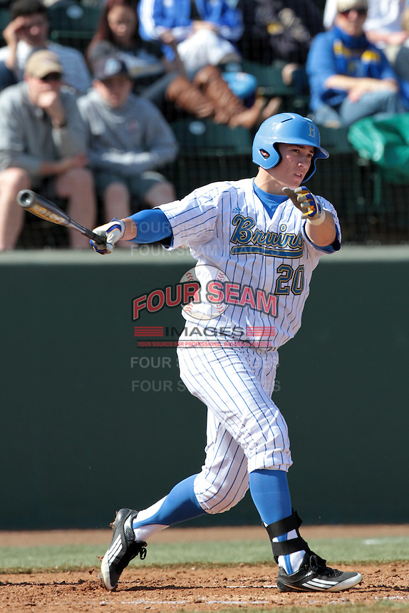 Jeff Gelalich #20 of the UCLA Bruins bats against the Maryland Terrapins at Jackie Robinson Stadium on February 19, 2012 in Los Angeles,California. Maryland defeated UCLA 5-1.(Larry Goren/Four Seam Images)