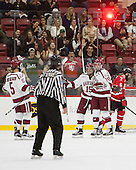 Clay Anderson (Harvard - 5), Seb Lloyd (Harvard - 15), Jimmy Vesey (Harvard - 19) - The Harvard University Crimson defeated the visiting Rensselaer Polytechnic Institute Engineers 5-2 in game 1 of their ECAC quarterfinal series on Friday, March 11, 2016, at Bright-Landry Hockey Center in Boston, Massachusetts.