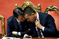 Giuseppe Conte and Luigi Di Maio<br /> Rome September 10th 2019. Senate. Discussion and Trust vote at the new Government. <br /> Foto  Samantha Zucchi Insidefoto