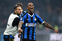 9th February 2020, Milan, Italy; Serie A football, AC Milan versus Inter-Milan; Ashley Young celebrates as his tema takes the lead