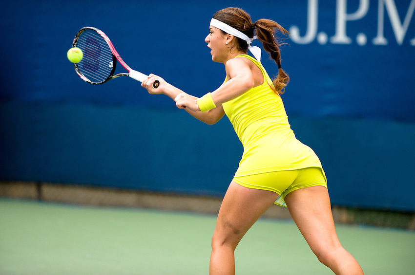 FLUSHING MEADOWS, NY - AUGUST 27: Sorana Cirstea (ROU) competes in a first round match of the US Open on August 27, 2012 at the USTA Billie Jean King National Tennis Center in New York. The US Open is the highest-attended annual sporting event in the world.