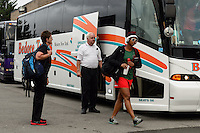 Portland Thorns goalkeeper Karina LeBlanc (1) exits the team bus prior to playing the Western New York Flash during the National Women's Soccer League (NWSL) finals at Sahlen's Stadium in Rochester, NY, on August 31, 2013.