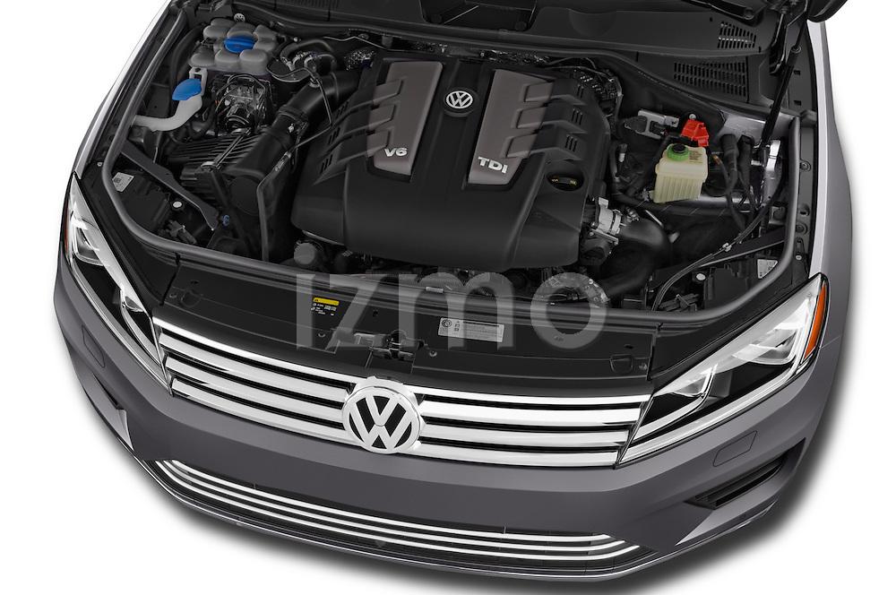 Car Stock 2017 Volkswagen Touareg Executive 5 Door SUV Engine  high angle detail view