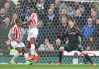 Stoke City's Bruno Martins Indi beats Chelsea's  keeper Thibaut Courtois only to see his goal disallowed<br /> <br /> Photographer Mick Walker/CameraSport<br /> <br /> The Premier League - Stoke City v Chelsea - Saturday 18th March 2017 - bet365 Stadium - Stoke<br /> <br /> World Copyright &copy; 2017 CameraSport. All rights reserved. 43 Linden Ave. Countesthorpe. Leicester. England. LE8 5PG - Tel: +44 (0) 116 277 4147 - admin@camerasport.com - www.camerasport.com