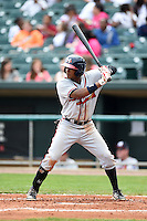 Mississippi Braves outfielder Cedric Hunter (17) at bat during a game against the Montgomery Biscuits on April 22, 2014 at Riverwalk Stadium in Montgomery, Alabama.  Mississippi defeated Montgomery 6-2.  (Mike Janes/Four Seam Images)