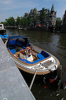 Speed boat on the water in Amsterdam