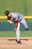 Salt River Rafters relief pitcher Ben Braymer (43), of the Washington Nationals organization, follows through on his delivery during an Arizona Fall League game against the Mesa Solar Sox at Sloan Park on October 30, 2018 in Mesa, Arizona. Salt River defeated Mesa 14-4 . (Zachary Lucy/Four Seam Images)