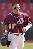Tony Sanchez #26 of the Boston College Eagles heads back to the dugout after scoring a run at Wake Forest Baseball Park April 11, 2009 in Winston-Salem, NC. (Photo by Brian Westerholt / Four Seam Images)