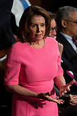 House Democratic Leader Representative Nancy Pelosi, Democrat of California, walks in the House Chamber prior to French President Emmanuel Macron delivering a joint address to the United States congress at the United States Capitol in Washington, DC on April 25, 2018. Credit: Alex Edelman / CNP