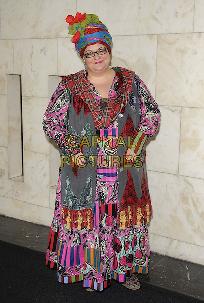 Camila Batmanghelidjh .The Women Of The Year Lunch, Intercontinental hotel, Park Lane, London, England..October 17th, 2011.full length grey gray red pink purple green blue print tartan plaid turban glasses dress.CAP/CAN.©Can Nguyen/Capital Pictures.