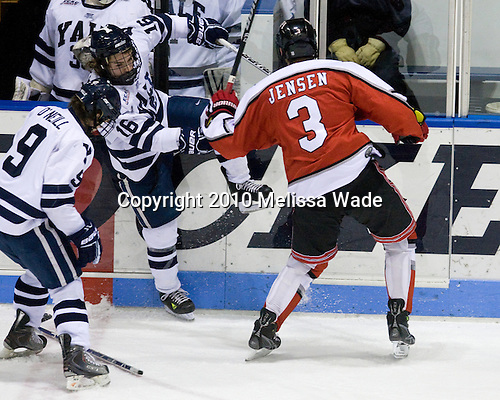 Sean Backman (Yale - 16), Christian Jensen (RPI - 3) - The Rensselaer Polytechnic Institute (RPI) Engineers defeated the Yale University Bulldogs 4-0 on Saturday, January 30, 2010, at Ingalls Rink in New Haven, Connecticut.