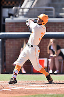 Tennessee Volunteers designated hitter Benito Santiago (31) swings at a pitch during a game against the Vanderbilt Commodores at Lindsey Nelson Stadium on April 24, 2016 in Knoxville, Tennessee. The Volunteers defeated the Commodores 5-3. (Tony Farlow/Four Seam Images)