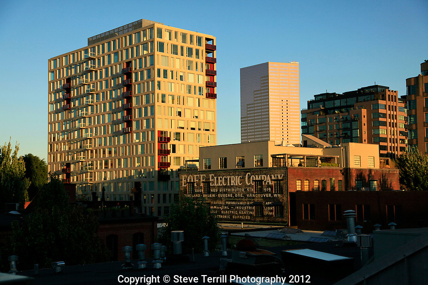 The Pearl district in evening light in NW Portland Oregon