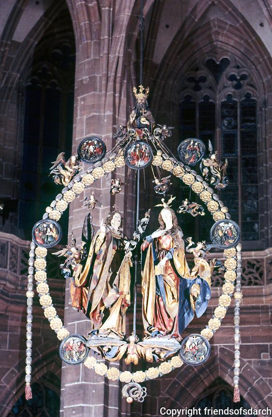 Nurenberg: St. Lorenz-Kirche--Gothic angelic salutation suspended from chancel vaulting. Veit Stoss, sculptor.