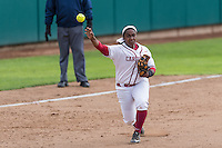 STANFORD, CA - March 12, 2016: The Stanford Cardinal vs the Cal Poly Mustangs in softball at Boyd & Jill Smith Family Stadium in Stanford, California. Final score, Stanford 2, Cal Poly 10.