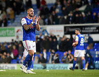 Ipswich Town's Luke Chambers applauds the fans at the final whistle <br /> <br /> Photographer Hannah Fountain/CameraSport<br /> <br /> The EFL Sky Bet Championship - Ipswich Town v Middlesbrough - Tuesday 2nd October 2018 - Portman Road - Ipswich<br /> <br /> World Copyright &copy; 2018 CameraSport. All rights reserved. 43 Linden Ave. Countesthorpe. Leicester. England. LE8 5PG - Tel: +44 (0) 116 277 4147 - admin@camerasport.com - www.camerasport.com