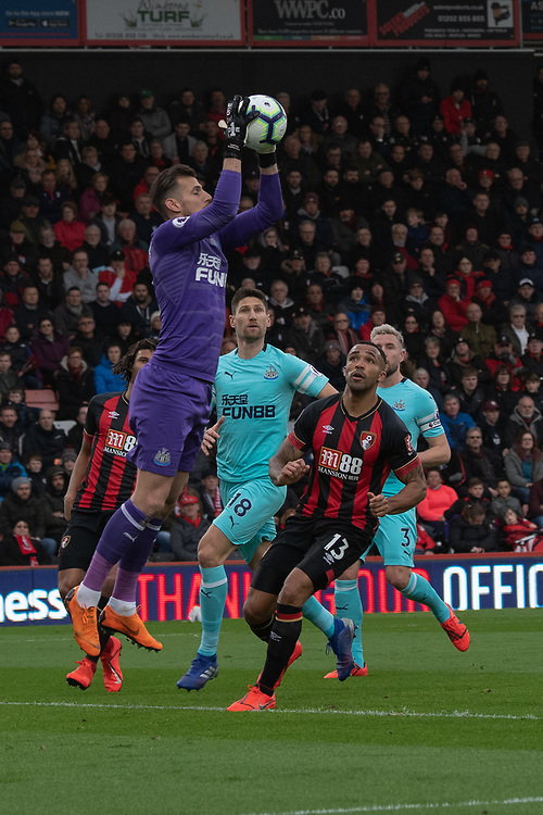 Newcastle United's Martin Dubravka (left) under pressure from Bournemouth's Callum Wilson (right) <br /> <br /> Photographer David Horton/CameraSport<br /> <br /> The Premier League - Bournemouth v Newcastle United - Saturday 16th March 2019 - Vitality Stadium - Bournemouth<br /> <br /> World Copyright © 2019 CameraSport. All rights reserved. 43 Linden Ave. Countesthorpe. Leicester. England. LE8 5PG - Tel: +44 (0) 116 277 4147 - admin@camerasport.com - www.camerasport.com
