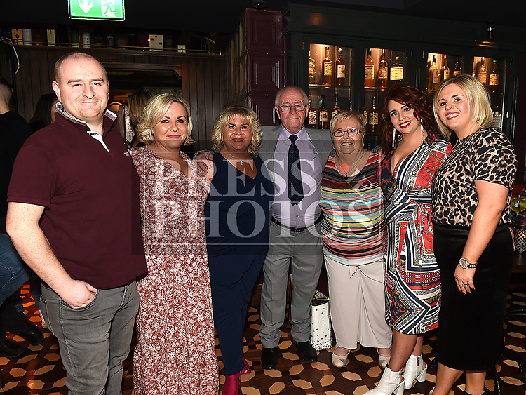 Tommy Cowley celebrating his 70th birthday in The Westcourt Hotel with his wife Ursula, son Kieth and daughters, Janice, Tammy, Elaine and Amy. Photo:Colin Bell/pressphotos.ie