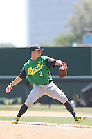 Brando Tessar #3 of the Oregon Ducks pitches against the UCLA Bruins at Jackie Robinson Stadium on May 18, 2014 in Los Angeles, California. Oregon defeated UCLA, 5-4. (Larry Goren/Four Seam Images)
