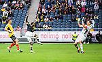 Solna 2015-07-26 Fotboll Allsvenskan AIK - IF Elfsborg :  <br /> AIK:s Henok Goitom g&ouml;r 4-0 bakom Elfsborgs m&aring;lvakt Kevin Stuhr Ellegaard med ett skott under matchen mellan AIK och IF Elfsborg <br /> (Foto: Kenta J&ouml;nsson) Nyckelord:  AIK Gnaget Friends Arena Allsvenskan Elfsborg IFE