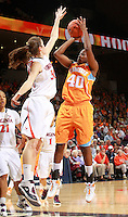 CHARLOTTESVILLE, VA- NOVEMBER 20: Shekinna Stricklen #40 of the Tennessee Lady Volunteers shoots in front of Chelsea Shine #50 of the Virginia Cavaliers during the game on November 20, 2011 at the John Paul Jones Arena in Charlottesville, Virginia. Virginia defeated Tennessee in overtime 69-64. (Photo by Andrew Shurtleff/Getty Images) *** Local Caption *** Chelsea Shine;Shekinna Stricklen