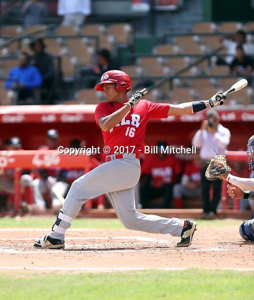 Agustin Ramirez participates in the MLB International Showcase at Estadio Quisqeya on February 22-23, 2017 in Santo Domingo, Dominican Republic.