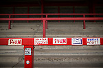© Joel Goodman - 07973 332324 . 14/11/2015 . Manchester , UK . Stickers placed on the terrace at the St Mary's Road end of the stadium . FC United host Gainsborough Trinity in the National League North at Broadhurst Park . NB requested changing room access three times and was denied three times . Photo credit : Joel Goodman