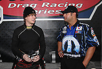 Mar. 17, 2013; Gainesville, FL, USA; NHRA funny car driver Blake Alexander (left) with Matt Hagan during the Gatornationals at Auto-Plus Raceway at Gainesville. Mandatory Credit: Mark J. Rebilas-