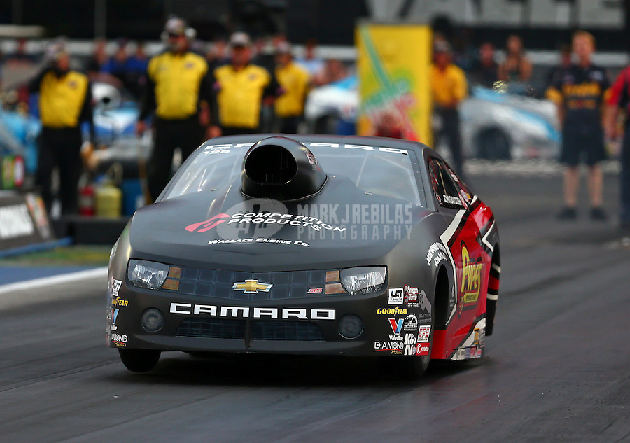 Jun 19, 2015; Bristol, TN, USA; NHRA pro stock driver John Gaydosh during qualifying for the Thunder Valley Nationals at Bristol Dragway. Mandatory Credit: Mark J. Rebilas-