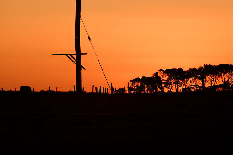 Lanscape and sky of La Pedrera, Uruguay at sunset.
