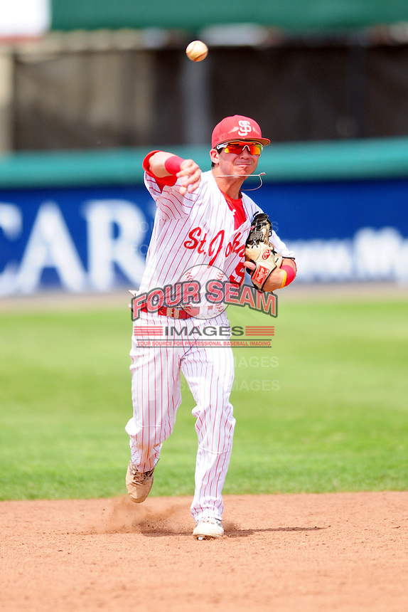 Jake Rosen (5) of the St. John's (Shrewsbury) Pioneers during a game versus the Boston College High School Eagles at Campanelli Stadium on June 7, 2015 in Brockton, Massachusetts. (Ken Babbitt/Four Seam Images)