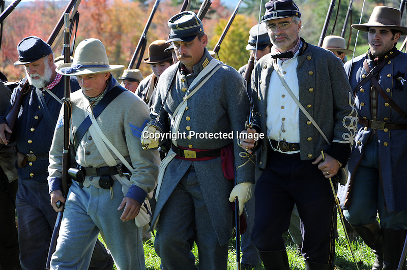Civil War Reenactment Confederate Army Marching in Surrender