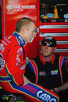Nov. 13, 2009; Avondale, AZ, USA; NASCAR Sprint Cup Series driver Mark Martin (left) with crew chief Alan Gustafson during practice for the Checker O'Reilly Auto Parts 500 at Phoenix International Raceway. Mandatory Credit: Mark J. Rebilas-