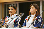 (L to R) Kaori Icho, Saori Yoshida, EPTEMBER 9, 2013 - Wrestling : Japanese Wrestling team ateend press conference after Wrestling remained to the Summer Olympic Games in 2020 at Ajinomoto Traning center, Tokyo, Japan. (Photo by Yusuke Nakanishi/AFLO SPORT)
