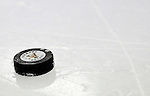 16 October 2010: A University of Vermont Catamount Hockey Puck lies on the ice during a game against the Boston College Eagles at Gutterson Fieldhouse in Burlington, Vermont. The Eagles defeated the Lady Cats 4-1 in the second game of their weekend series. Mandatory Credit: Ed Wolfstein Photo